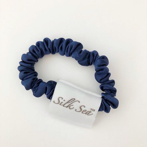 Silk Sea Luxury 100% mulberry silk tiny scrunchies in navy