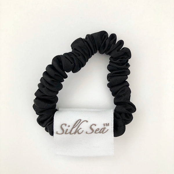Silk Sea Luxury 100% mulberry silk tiny scrunchies in black