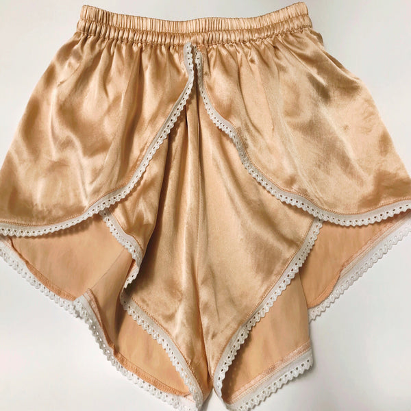 Limited Edition Ladies Lace Trim Silk Boxers - Silk Sea