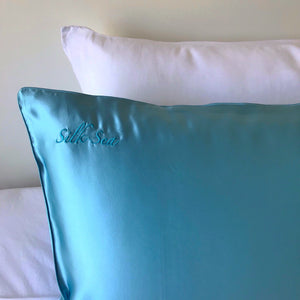Silk Sea Luxury 100% mulberry silk pillowcase in signature silk sea colour