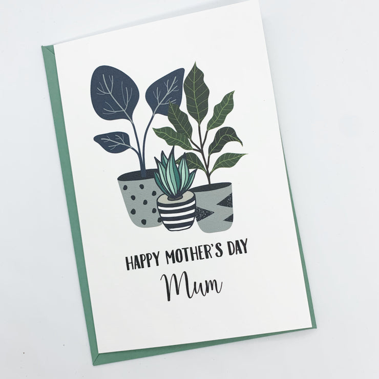 Personalised Mothers Day Card - Potted Plant Design