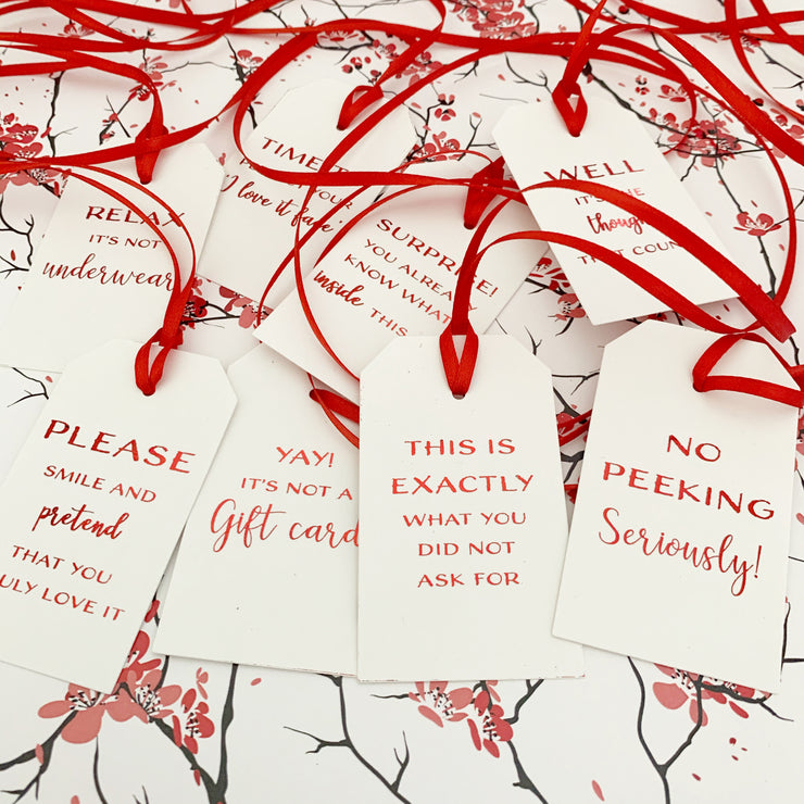 Gift Tags - Funny Red Foiled Christmas Tags