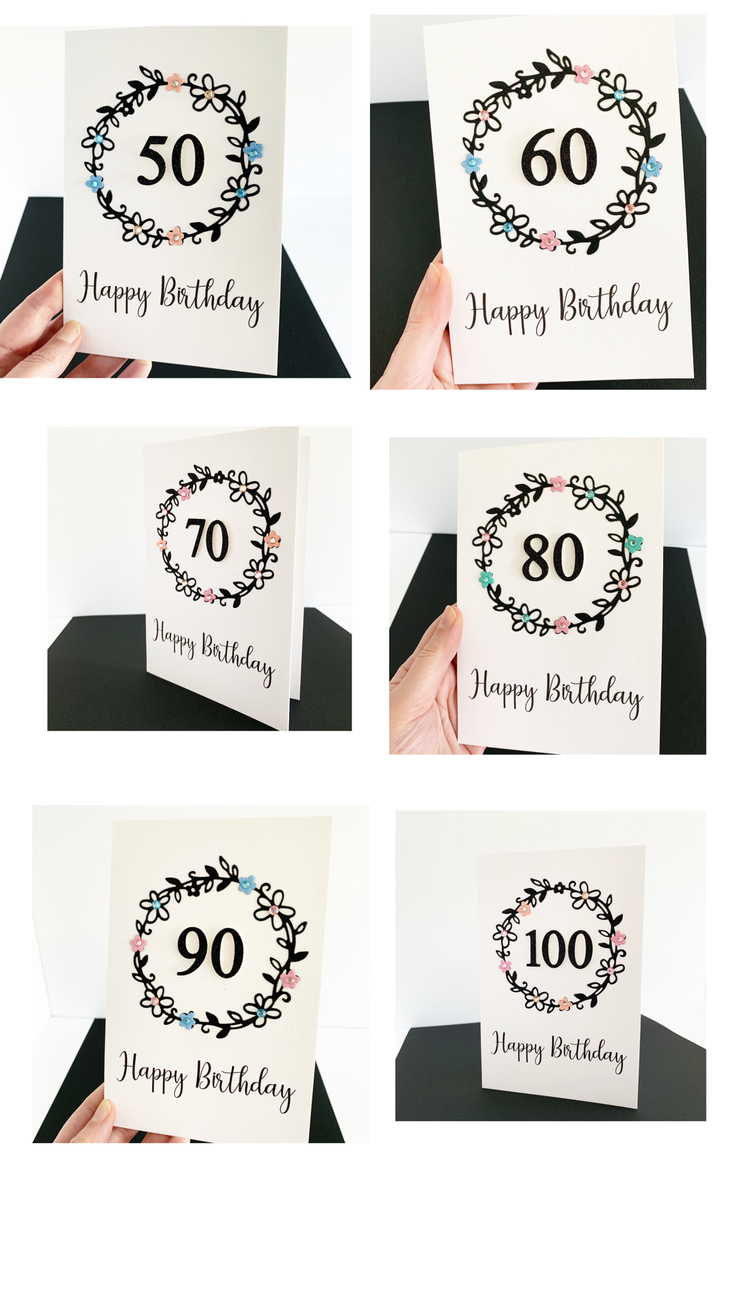 Handmade 90th Birthday Card for Her - the-paper-angel-online