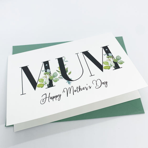 happy mothers day card MUM - leaf typography design - personalised mothers day card