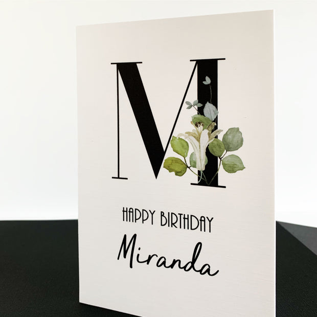 Monogram Single Initial Birthday Card Personalised