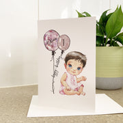 Personalised 1st Birthday Card Baby Girl
