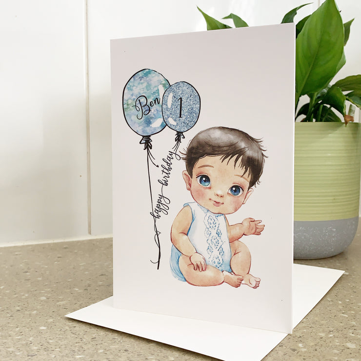 Personalised 1st Birthday Card Baby Boy