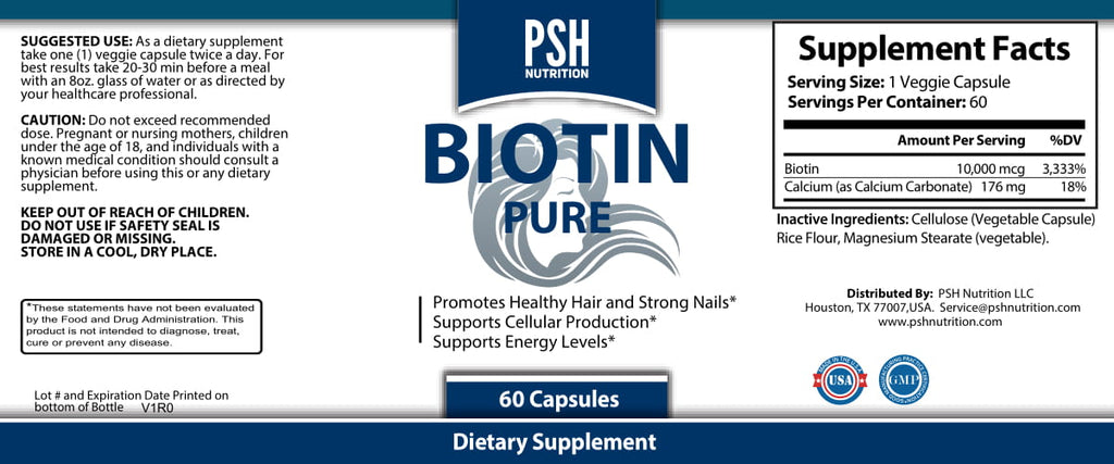 Biotin 10,000 mcg Vegetable Capsules, 60 Count