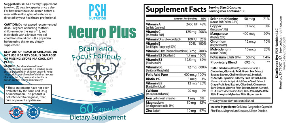 Premium Brain Function Supplement Neuro Plus Brain and Focus