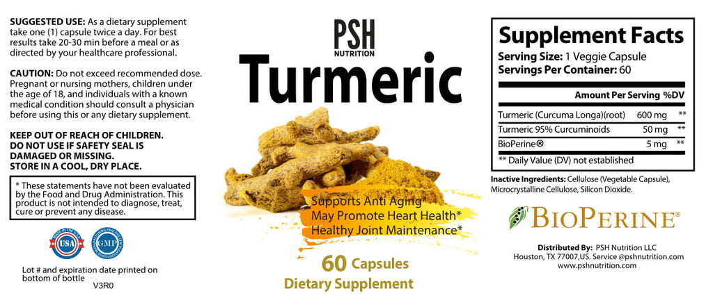 PSH Turmeric Curcumin with BioPerine Black Pepper Extract
