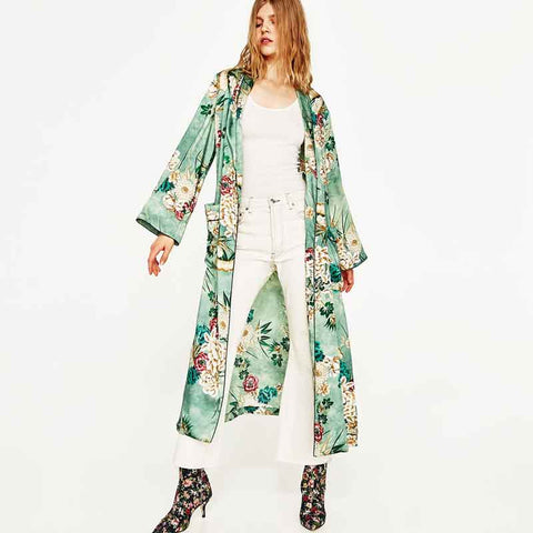 Green Floral Long Blouse Shirt
