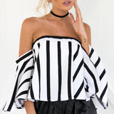 Women Ladies Striped Casual Off the Shoulder Short Sleeve
