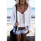 Casual Long Sleeve Lace Splice V-Neck Top