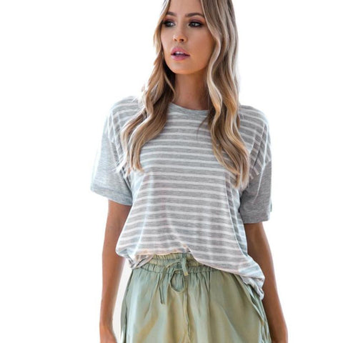 Gray White Striped Loose Shirt