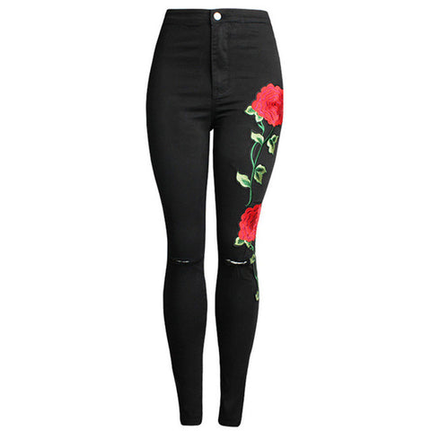 Embroidered Flower Skinny Jeans