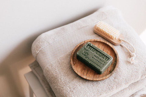 Sustainable beauty bar and wooden skin care brush