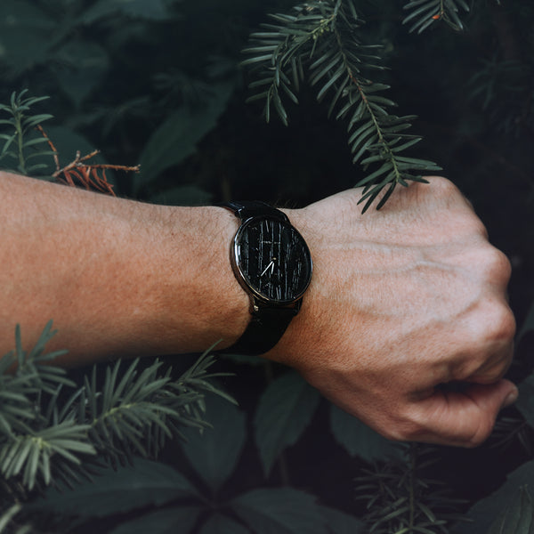 black oak wood watch in Wald collection of Grundstof watch