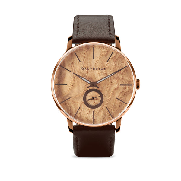 Olive Burl wood watch in Wald collection of Grundstof watch