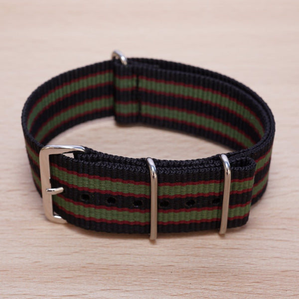 Black Red Olive Stripe Nylon