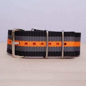 Black Grey Orange Stripe Nylon