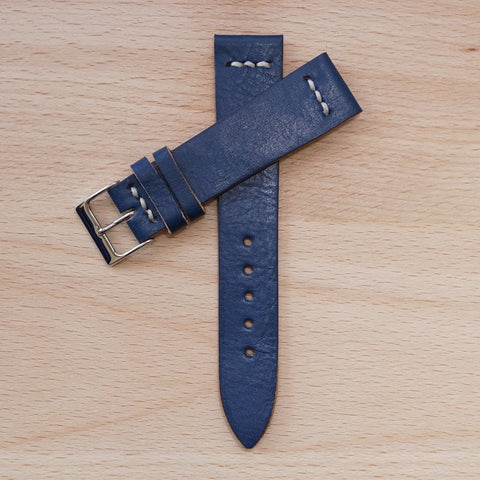 Blue Lug Stitch Leather Strap