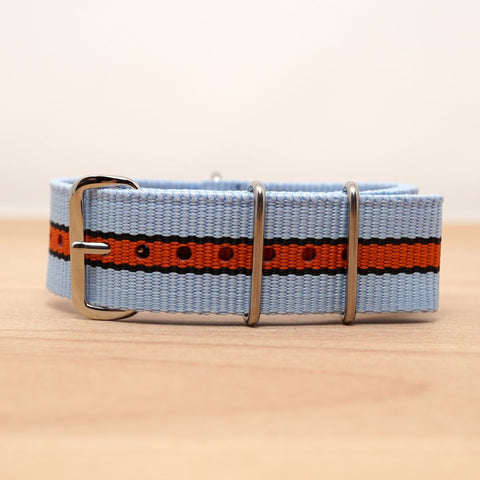 Racing Blue Orange Stripe Nylon