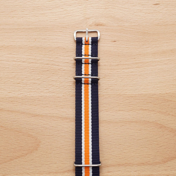 Navy Blue Orange Stripe Nylon