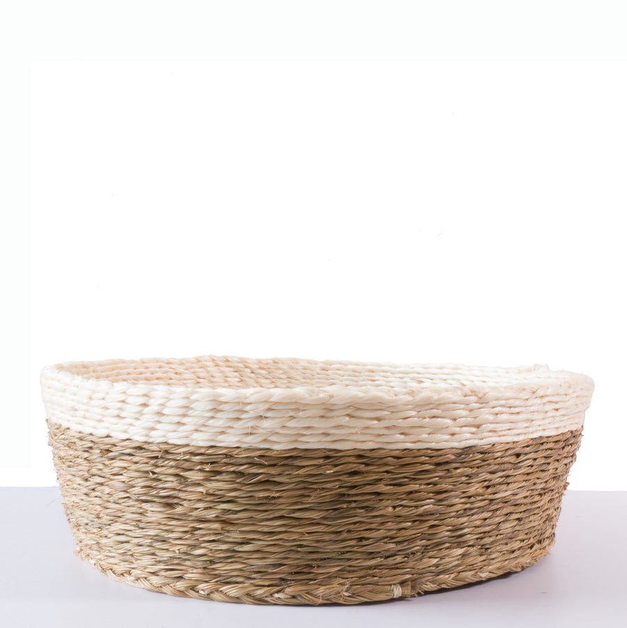 Grass Woven Bread Basket with Black Trim. Hand Made