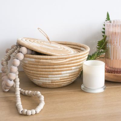 Twist Woven Pot White and Tea Styled with Beads