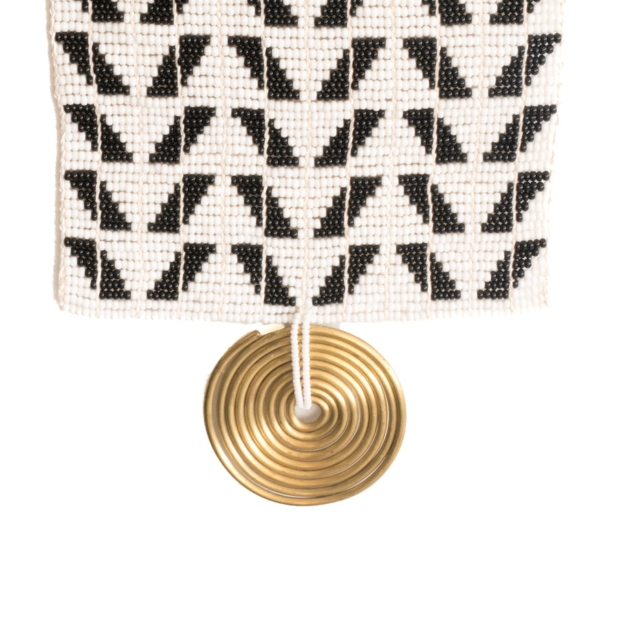 Unique, black and white beaded wall hanging