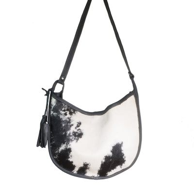 Cowhide Moon Bag with Black Leather