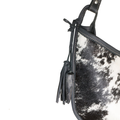 Cowhide Moon Bag with Black Leather detail