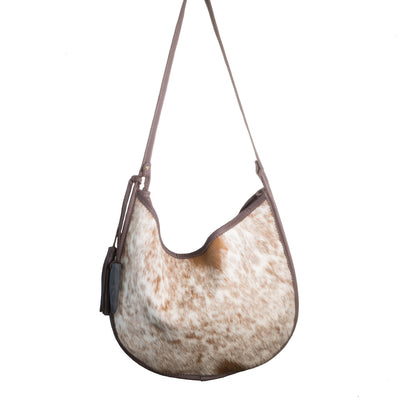 Cowhide Moon Bag with Chocolate Leather