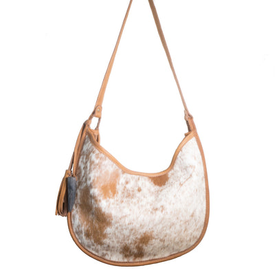 Cowhide Moon Bag with Toffee Leather