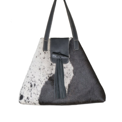 Black Cowhide Nicola Horn Flap Bag