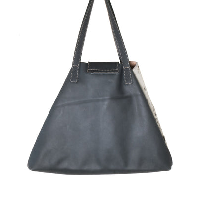 Back of Black Cowhide Nicola Horn Flap Bag