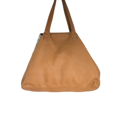 Back of Toffee Cowhide Nicola Horn Flap Bag
