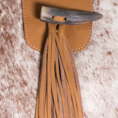 Toffee Cowhide Nicola Horn Flap Bag Close up
