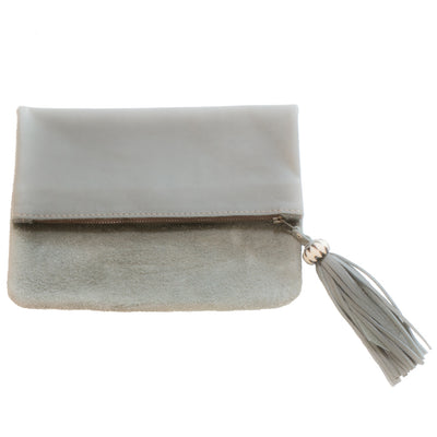 Fold over grey leather and suede clutch
