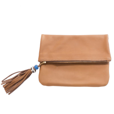 Fold over toffee leather clutch