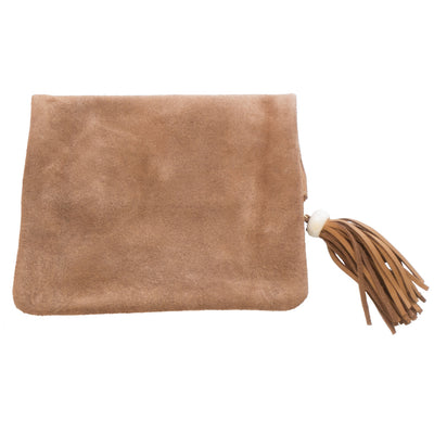 Fold over toffee leather and suede clutch