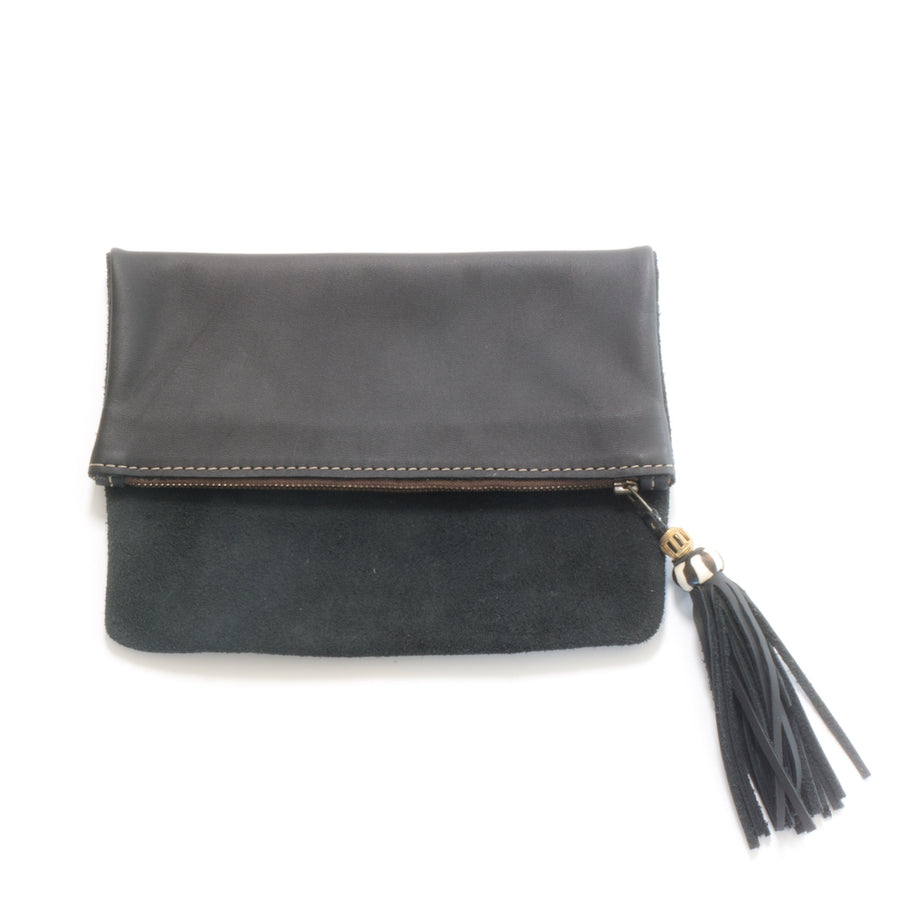 Fold Over Suede and Leather Clutches
