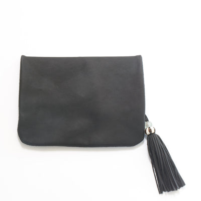 Fold over Black leather and suede clutch