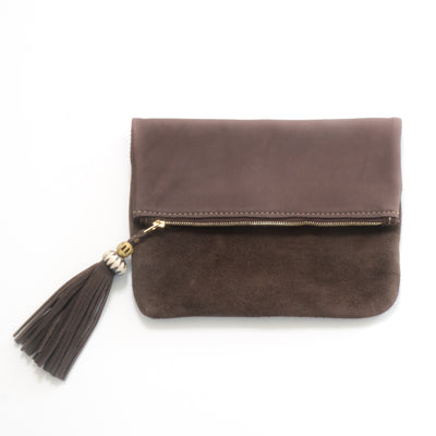 Fold over chocolate leather and suede clutch