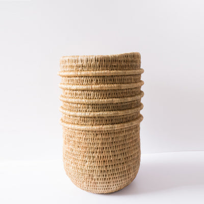 Natural coloured, hand made basket / pot