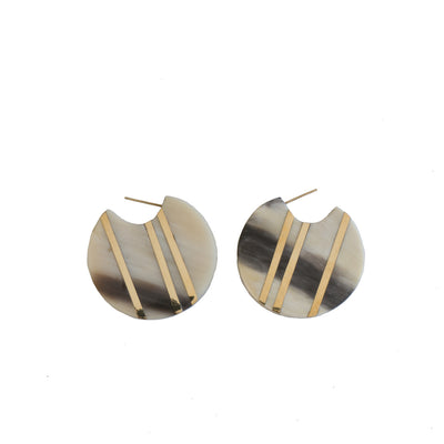 Horn Striped Circle Hoop  Earrings