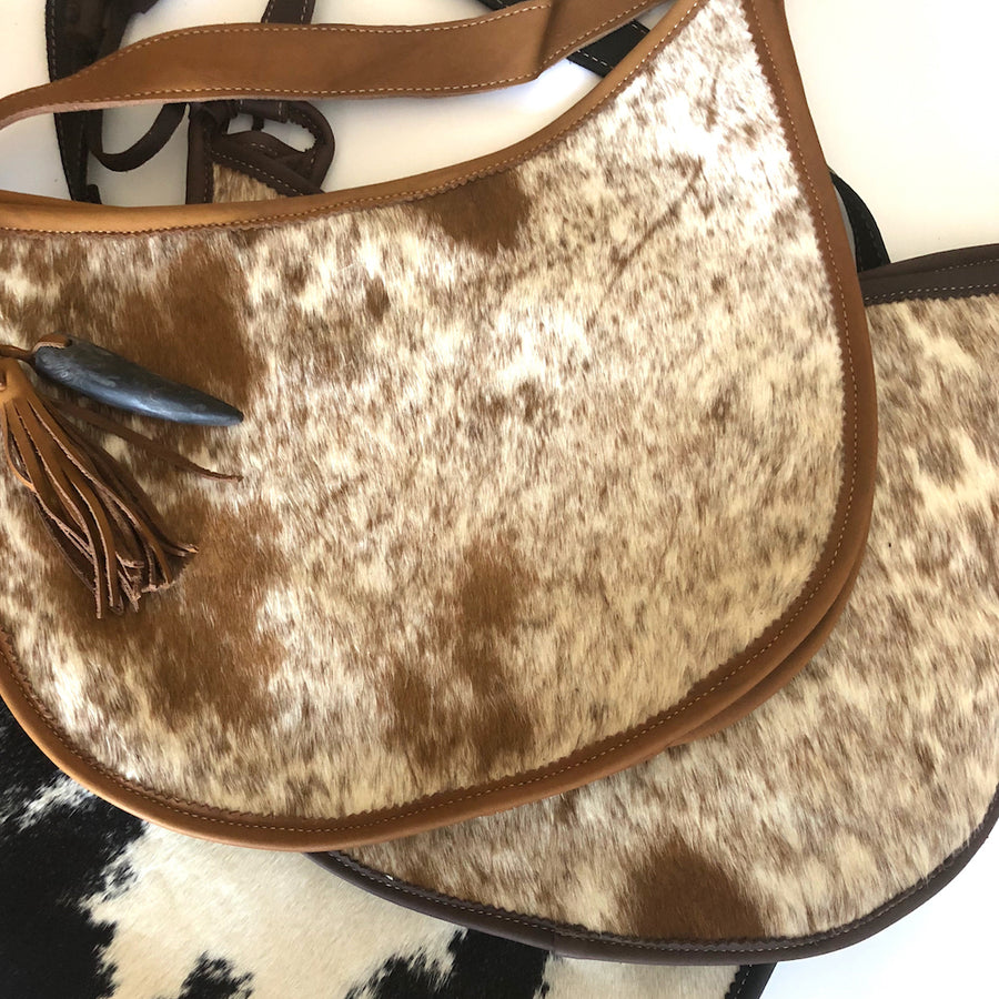 Cowhide and Leather Moon Bags