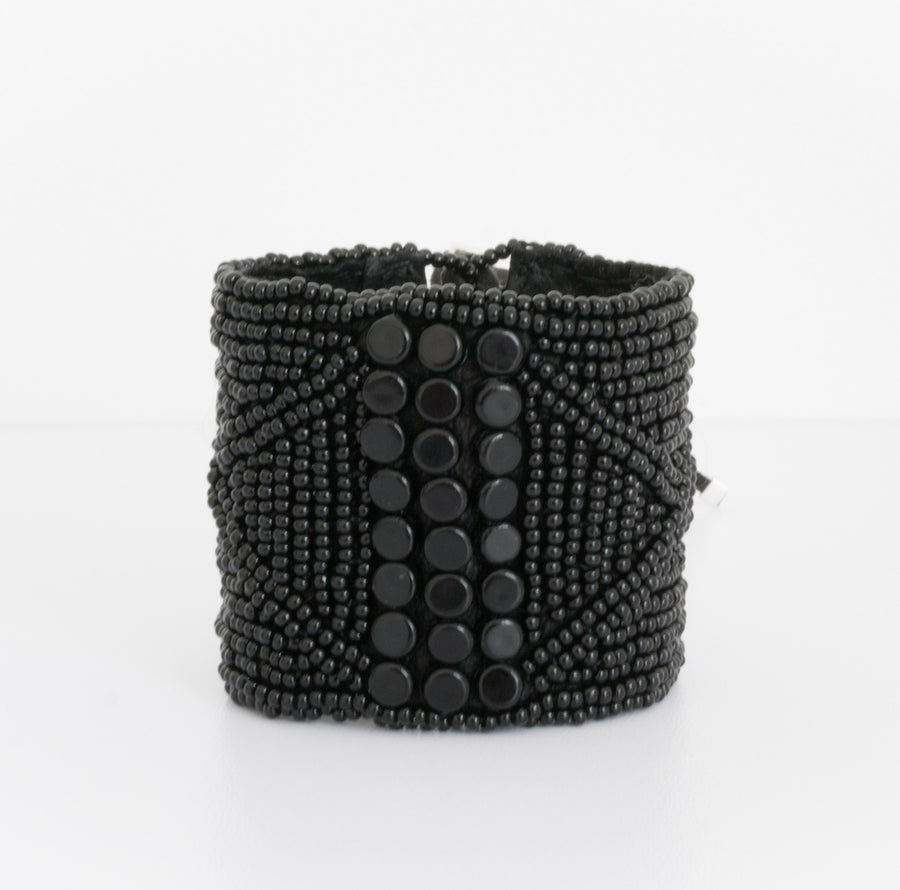 Cuff or Bracelet with suede inner and glass beads