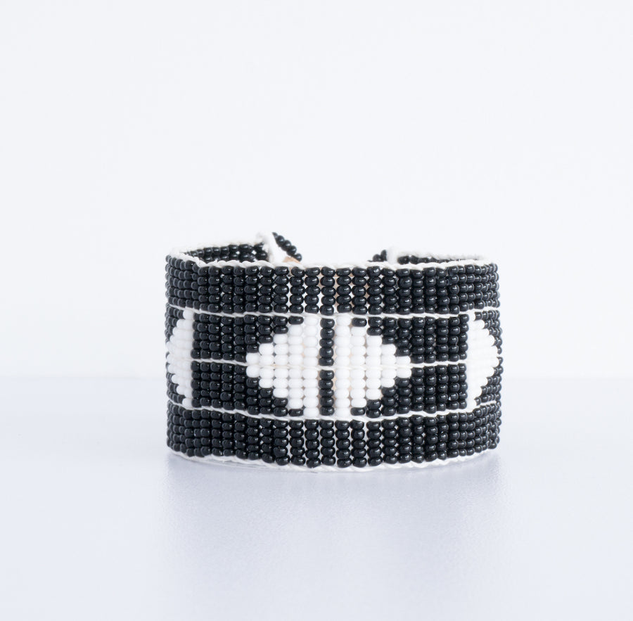 beautiful unique beaded cuff or bracelet grey and white