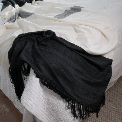 Dark Ash Moroccan Bamboo Throw styled